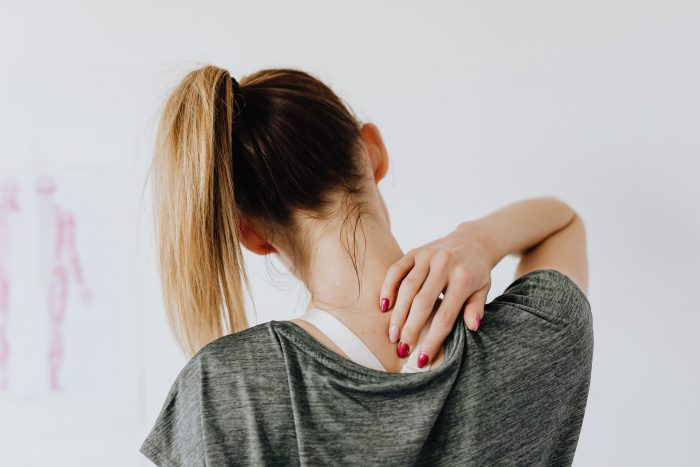 Back view of woman showing back spot on back