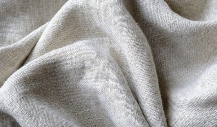 Close up of linen fabric showing texture detail